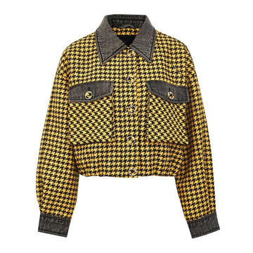 Modakawa Jacket Yellow / S Houndstooth Pocket Button Short Jacket