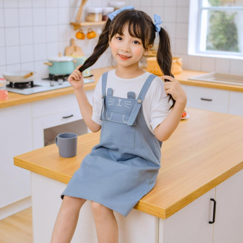 Modakawa Kids Blue / 110cm Kids Cat Embroidery Pocket Fake Two-Piece Overalls Dress