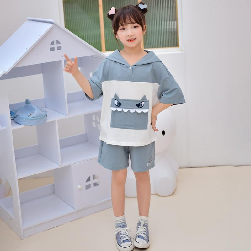 Modakawa Kids Blue / 110cm Kids Cute Shark Pocket Hooded T-Shirt Drawstring Shorts