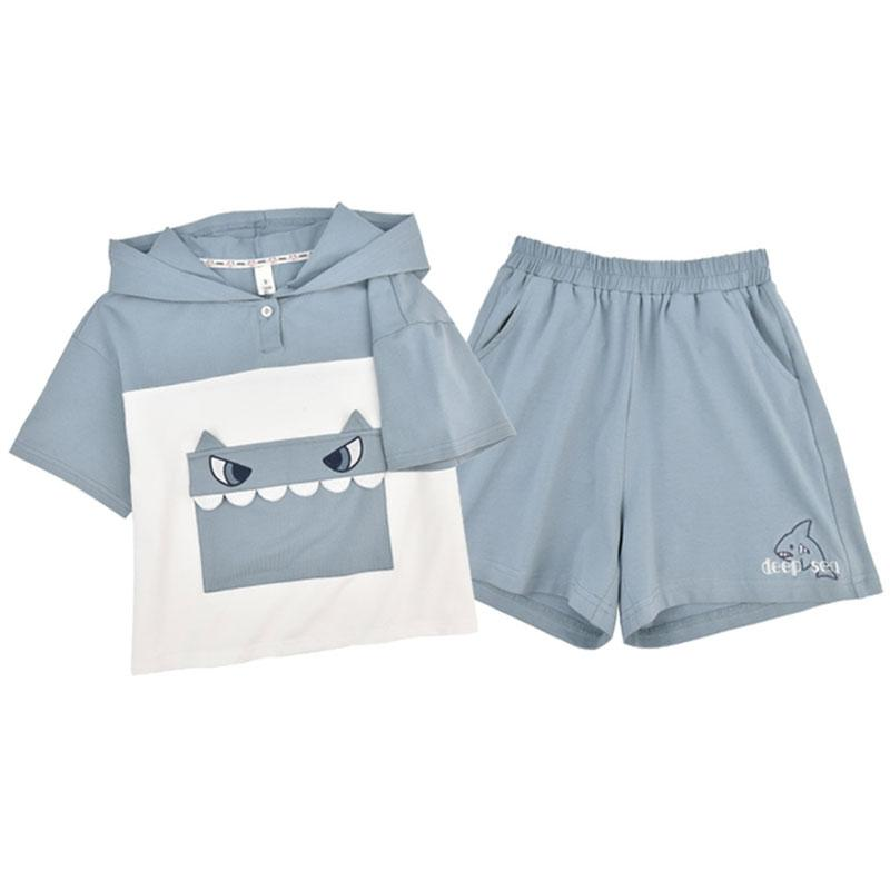 Modakawa Kids Blue / 110cm Shark Embroidery Pocket Hooded T-Shirt Shorts Kids Set