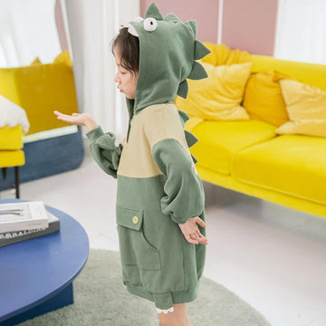 Modakawa Kids Green / 110cm Kids Dinosaur Eyes Pocket Button Hoodie