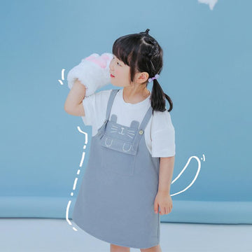 Modakawa Kids Kids Cat Embroidery Pocket Fake Two-Piece Overalls Dress