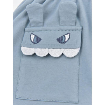 Modakawa Kids Shark Embroidery Pocket Hooded T-Shirt Shorts Kids Set