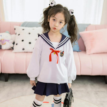 Modakawa Kids White & Blue / 110cm Kids Kitty Bell Sailor Collar Shirt Skirt Set
