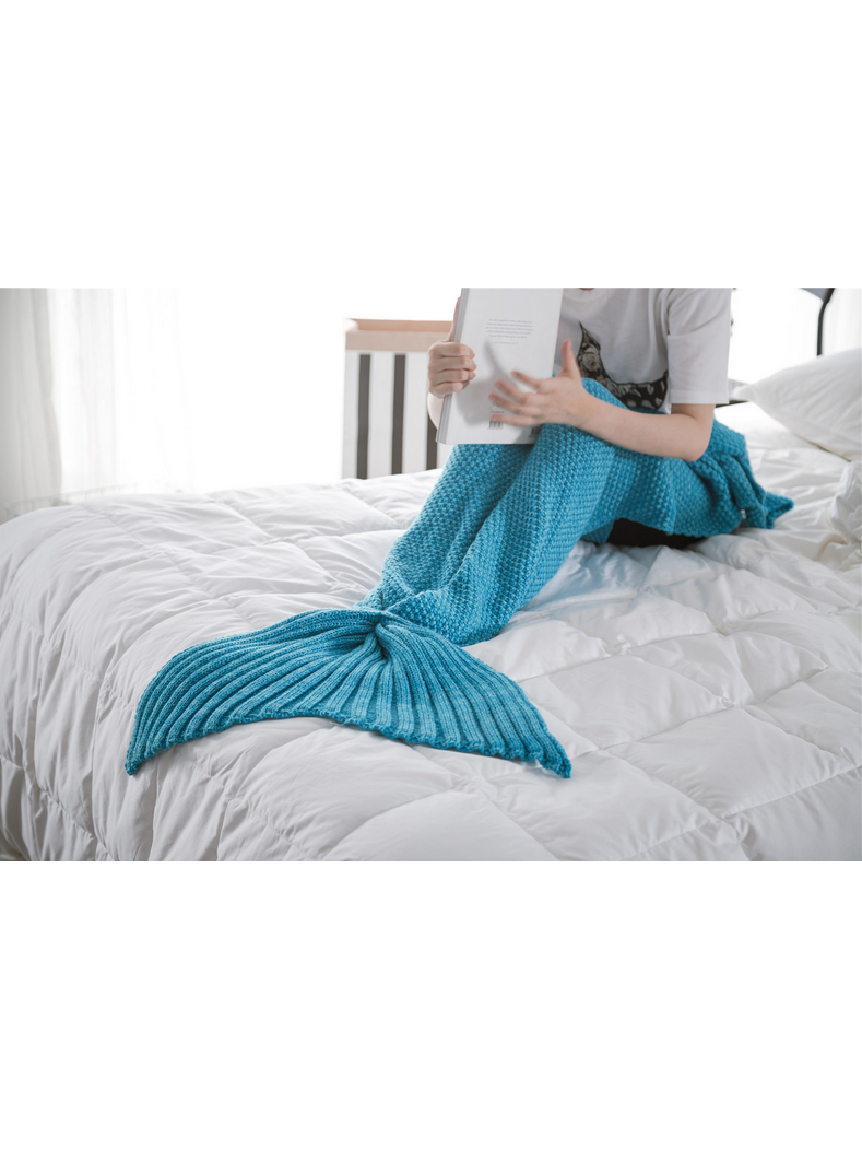 Modakawa Light Blue Candy Colors Mermaid Tail Acrylic Blanket 80X180CM