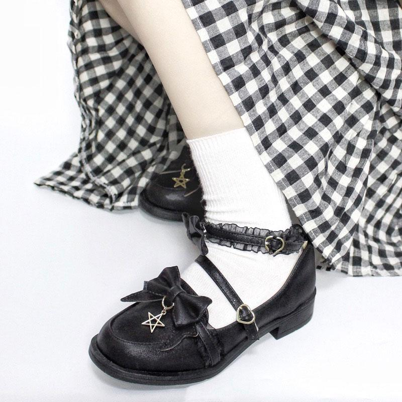 Modakawa Mary Janes Black / 35 Bow Star Lace Strap Buckle Round Toe Lolita Mary Janes Shoes