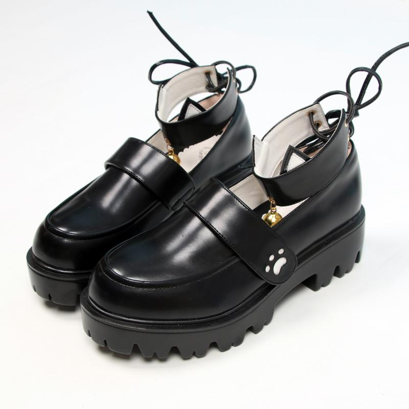 Modakawa Mary Janes Black / 35 Kitty Claw Bell JK Platform Mary Janes