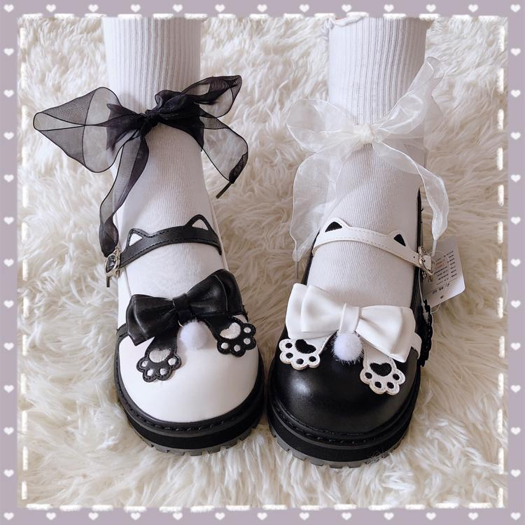 Modakawa Mary Janes Black & White / 35 Cat Claw Ears Bow Buckle Lolita Mary Janes Shoes
