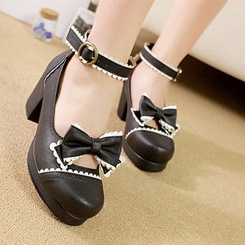 Modakawa Mary Janes Bow High Heels Dress Shoes Buckle Platform Round Toe Lolita