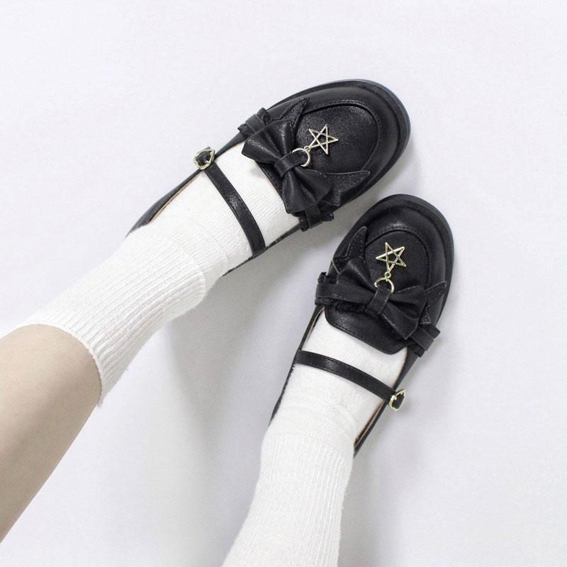 Modakawa Mary Janes Bow Star Lace Strap Buckle Round Toe Lolita Mary Janes Shoes