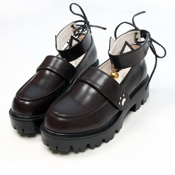 Modakawa Mary Janes Brown / 35 Kitty Claw Bell JK Platform Mary Janes