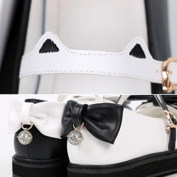 Modakawa Mary Janes Cat Claw Ears Bow Buckle Lolita Mary Janes Shoes