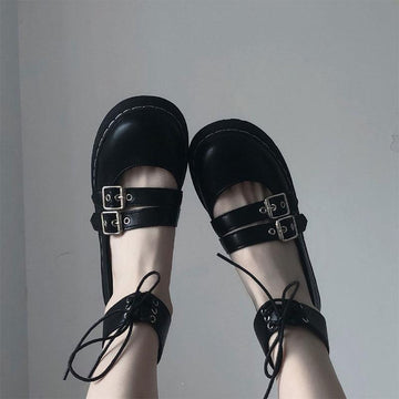 Modakawa Mary Janes High Top Strap Buckle Round Toe Lolita Mary Janes Shoes