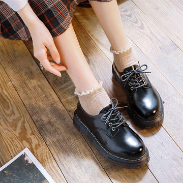 Modakawa Mary Janes Japanese Classic Lace Up Platform Mary Janes Shoes