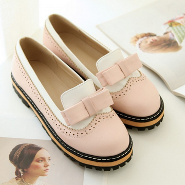 Modakawa Mary Janes Pink / 34 Bow Casual Flats Shoes Candy Colors Vintage Colorblock