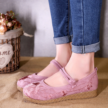 Modakawa Mary Janes Pink / 35 Vintage Embroidered Flats Linen Shoes Flower Buckle Casual