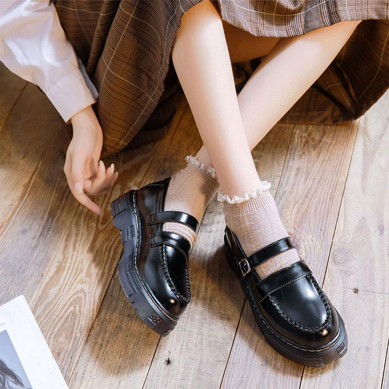 Modakawa Mary Janes Strap Buckle Platform Round Toe Mary Janes Shoes