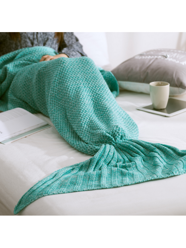 Modakawa Mint Green Candy Colors Mermaid Tail Acrylic Blanket 80X180CM