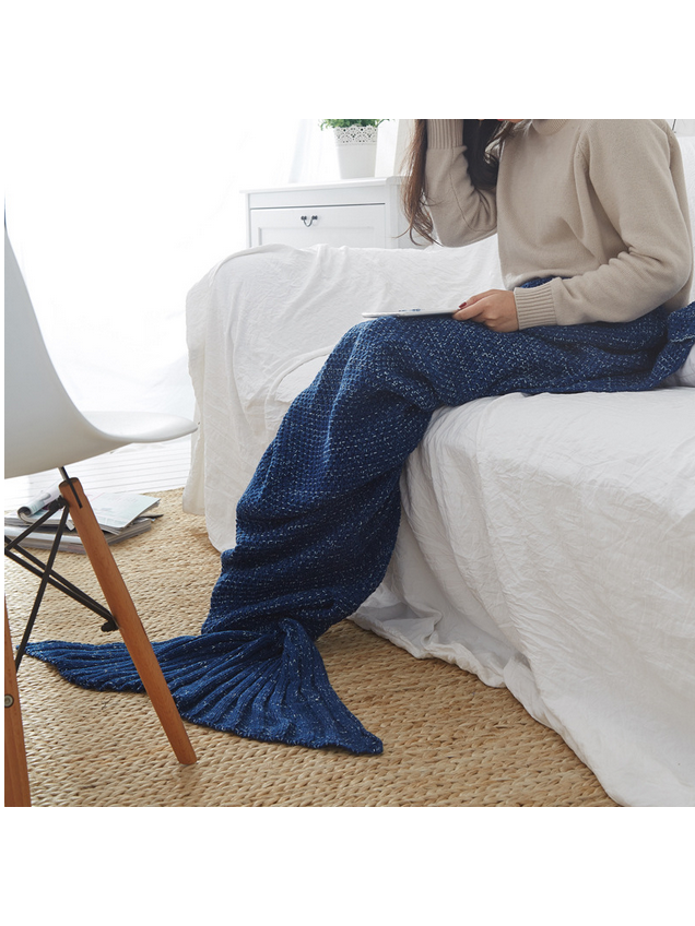 Modakawa Navy Blue Candy Colors Mermaid Tail Acrylic Blanket 80X180CM
