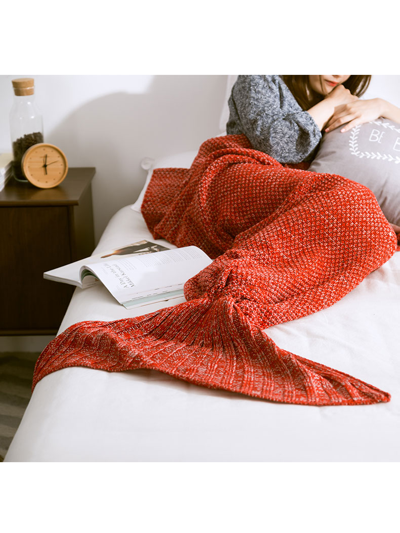 Modakawa Orange Candy Colors Mermaid Tail Acrylic Blanket 80X180CM