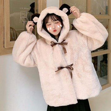 Modakawa Outerwear Apricot / One Size Kawaii Sweet Bear Ears Loose Plush Hooded Coat