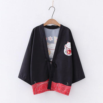 Modakawa Outerwear Black / One Size Japanese Lucky Cat Sakura Fan Kimono Outerwear Sun Protective