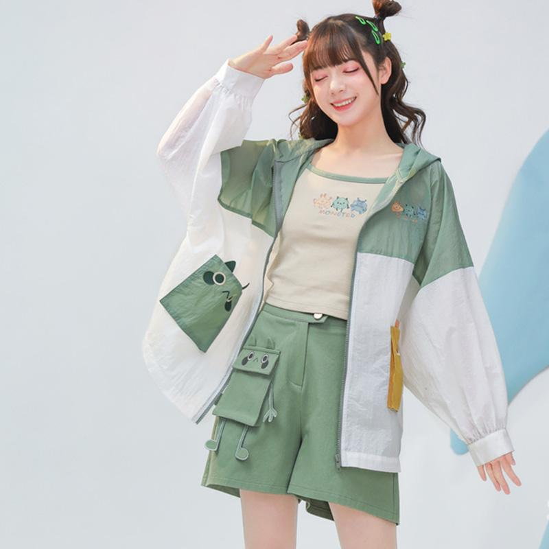 Modakawa Outerwear Cute Monster Embroidery Outerwear Sun Protective