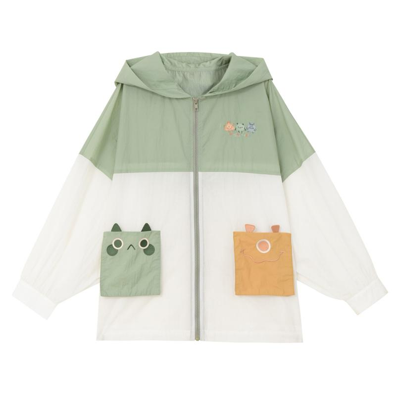 Modakawa Outerwear Green / S Cute Monster Embroidery Outerwear Sun Protective