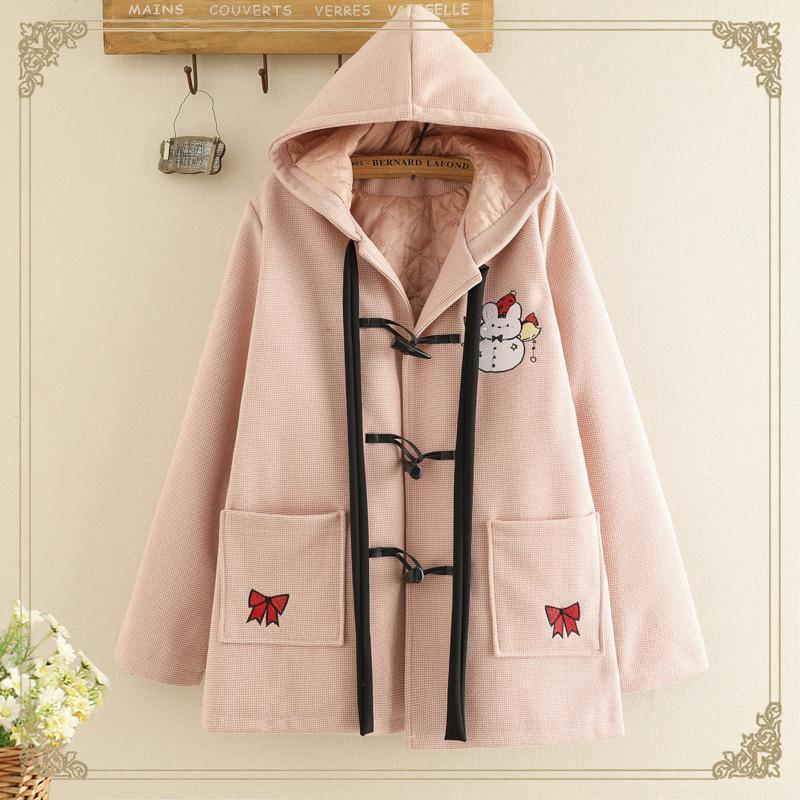 Modakawa Outerwear Pink / One Size Rabbit Embroidery Horn Buckle Hooded Coat