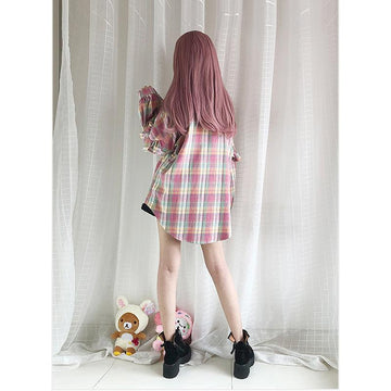 Modakawa Outerwear Plaid / One Size Rainbow Color Plaid Ruffle Shirt Outerwear