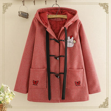 Modakawa Outerwear Red / One Size Rabbit Embroidery Horn Buckle Hooded Coat