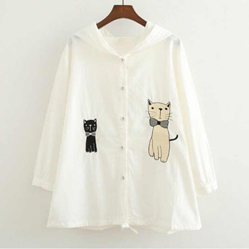 Modakawa Outerwear White Cute Cat Embroidery Thin Coat