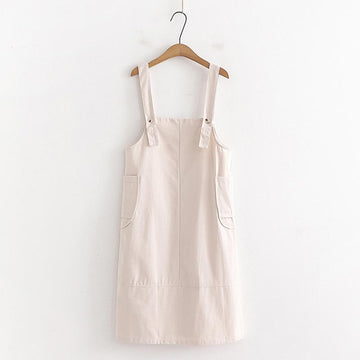 Modakawa Overall Beige / One Size Sweet Side Pockets Overalls Dress