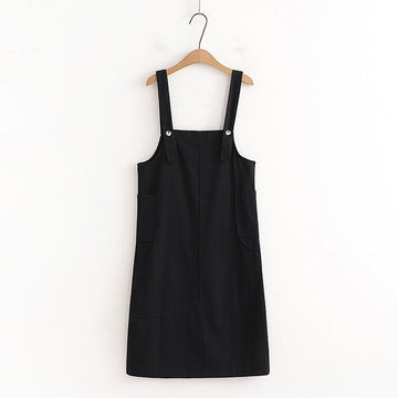 Modakawa Overall Black / One Size Sweet Side Pockets Overalls Dress
