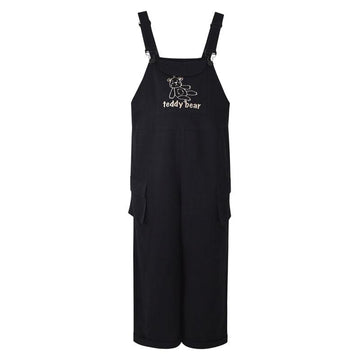 Modakawa Overall Black / S TEDDY BEAR Embroidery Pocket Overalls Pants