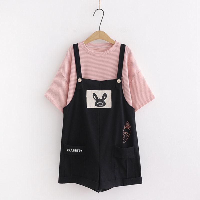 Modakawa Overall Black / Set RABBIT Letter Carrot Pocket Overalls Shorts