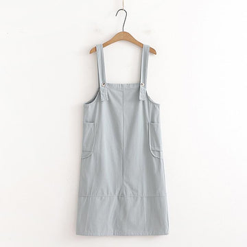 Modakawa Overall Blue / One Size Sweet Side Pockets Overalls Dress