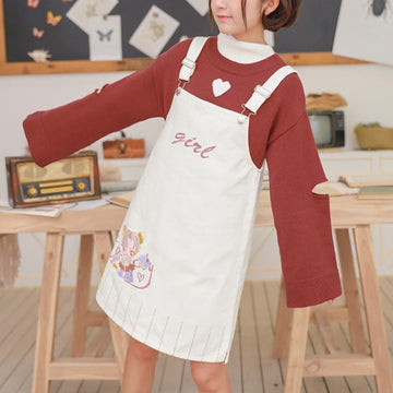 Modakawa Overall Cartoon Girl Candy Embroidery Overalls Dress