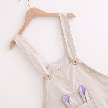 Modakawa Overall Cartoon Rabbit Ear Embroidery Overalls Shorts