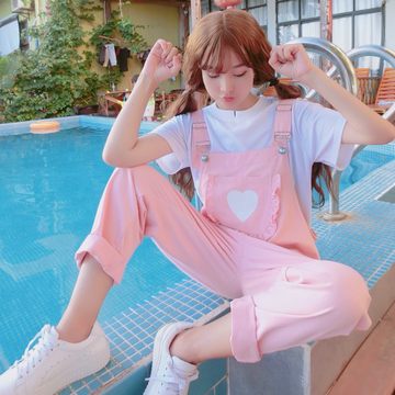 Modakawa Overall Heart Front Pocket Pink Overall