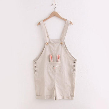 Modakawa Overall Khaka pink / One Size Cartoon Rabbit Ear Embroidery Overalls Shorts