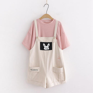 Modakawa Overall Khaki / Set RABBIT Letter Carrot Pocket Overalls Shorts