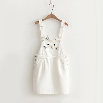 Modakawa Overall M Cat Embroidery Denim Overall
