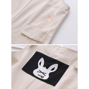 Modakawa Overall RABBIT Letter Carrot Pocket Overalls Shorts