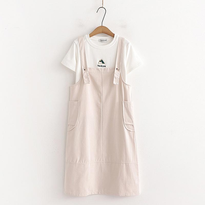 Modakawa Overall Sweet Side Pockets Overalls Dress