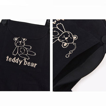 Modakawa Overall TEDDY BEAR Embroidery Pocket Overalls Pants