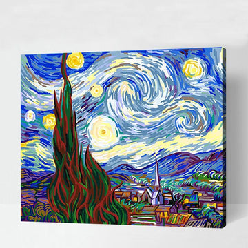 Modakawa Paint Starry Night / 40 x 50 cm No Frame Starry Night DIY Paint by Numbers