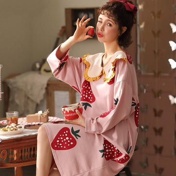 Modakawa Pajamas A / M Sweet Cartoon Ruffle Doll Collar Pajamas Dress