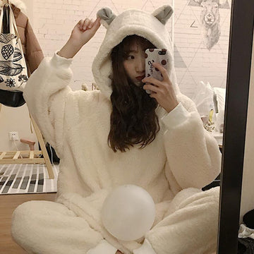 Modakawa Pajamas Bear Ears Plush Pure Color Pajamas Set
