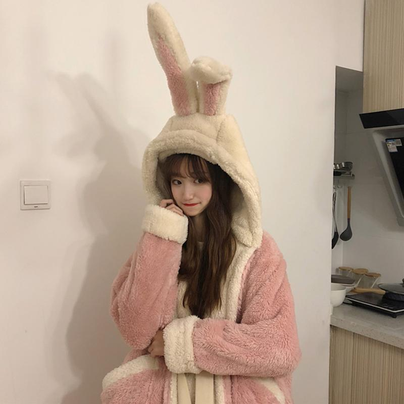 Modakawa Pajamas Beige Ears / One Size Cute Bunny Ears Open Front Plush Hooded Pajama Set